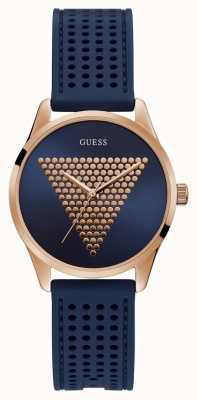 Guess | Womens Mini Imprint | Blue Rubber Strap | BlueRose Dial | W1227L3