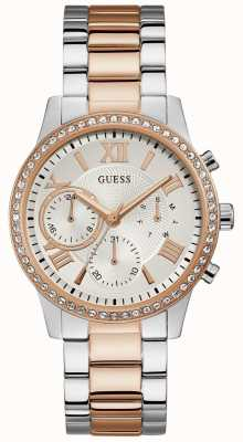 Guess | Womens Solar | Two Tone Stainless Steel | Silver Dial | W1069L4