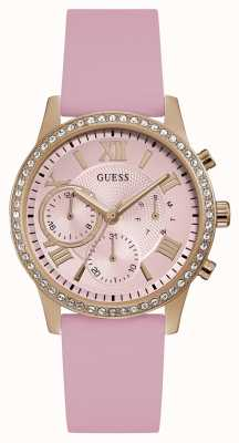 Guess | Womens Solar | Pink Rubber Strap | Pink Dial | W1135L2