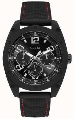 Guess | Mens Dash | Black Rubber Strap | Black Dial | W1256G1