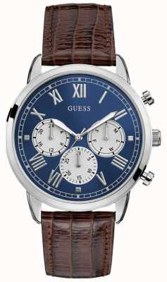 Guess | Mens Hendrix | Brown Leather Strap | Blue Dial | W1261G1