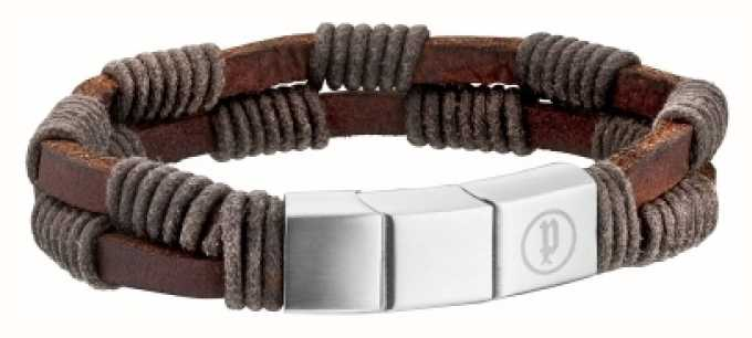 Police Mens Brown Leather Twin Row Bracelet 25889BLC/01