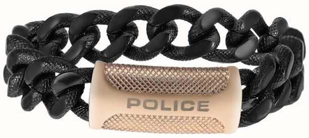 Police Men's Black Rose Gold PVD Plated Bracelet 25508BSB/05-L