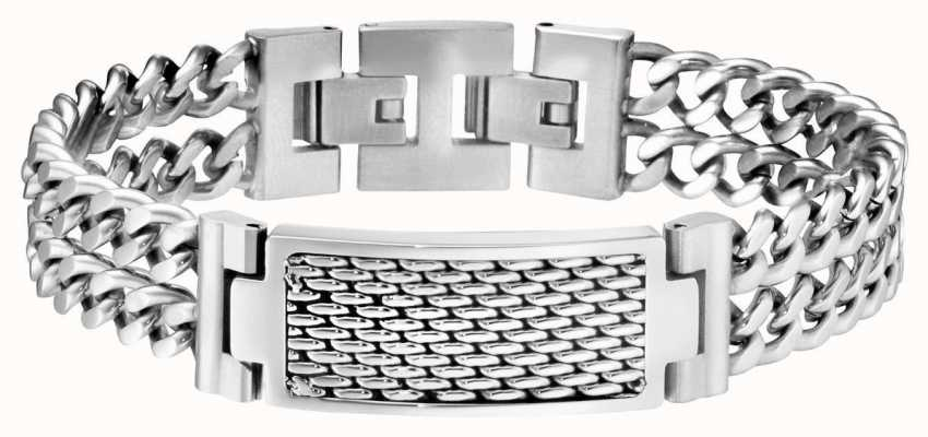 Police Mens Stainless Steel Twin Row Bracelet 25554BSS/01