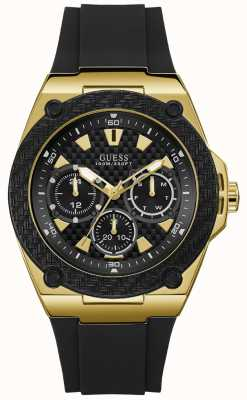 Guess | Mens Legacy | Black Rubber Strap | Black Dial | W1049G5