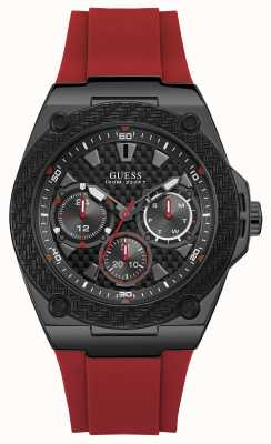 Guess | Mens Legacy | Red Rubber Strap | Black Dial | W1049G6