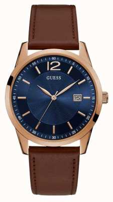 Guess | Mens Perry | Brown Leather Strap | Blue Dial | W1186G3