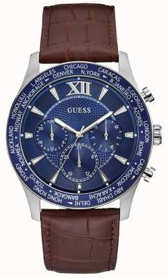 Guess | Mens Tycoon | Brown Leather Strap | Blue Dial | W1262G1