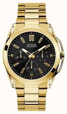 Guess | Mens Vertex | Gold Stainless Steel Strap | Black Dial | W1176G3