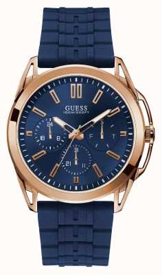 Guess | Mens Vertex | Blue Rubber Strap | Blue Dial | Rose Case | W1177G4