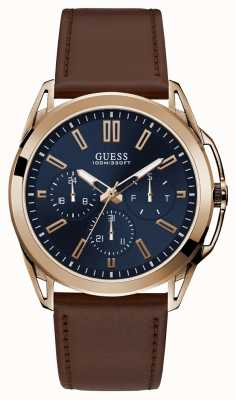 Guess | Mens Vertex | Brown Leather Strap | Blue Dial | W1217G2