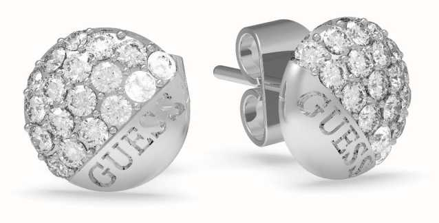 Guess | Embrace Crystal Button Earrings | Silver | UBE78048