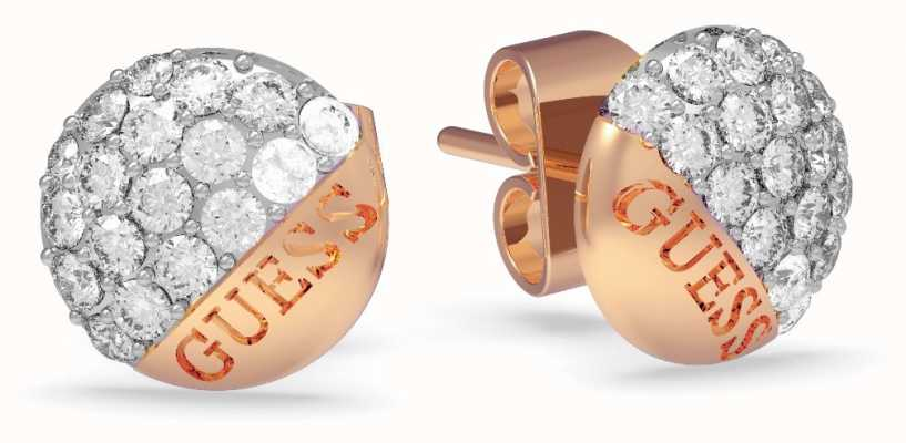 Guess | Embrace Crystal Button Earrings | Rose Gold | UBE78050