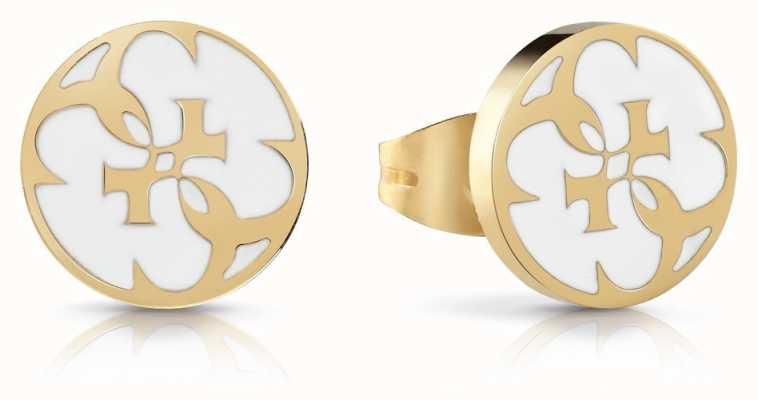 Guess   Summer Love   White Enamel Earrings   Gold   UBE78128