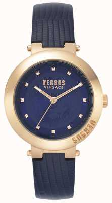 Versus Versace | Ladies Blue Leather Strap | Rose Gold Case | VSPLJ0419