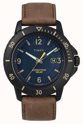 Timex | Gallatin Solar Brown Leather | Blue Dial | TW4B14600D7PF