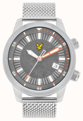 Lyle & Scott Mens Border Stainless Steel Mesh Bracelet Grey Dial LS-6010-11
