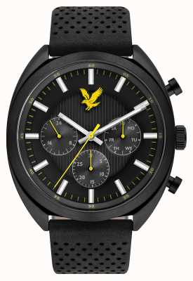 Lyle & Scott Mens Tevio XE Black Leather Strap Black Dial LS-6016-01