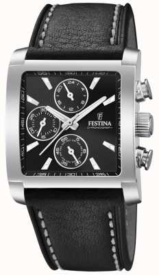 Festina | Men's Stainless Steel Chronograph | Black Leather Strap | F20424/3
