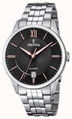Festina | Mens Stainless Steel Bracelet | Black/Rose Dial | F20425/6