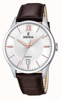 Festina | Mens Stainless Steel | SilverRose Dial | Brown Leather | F20426/4