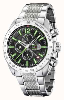 Festina | Mens Chronograph & Dual Time | Black/Green Dial | F20439/6