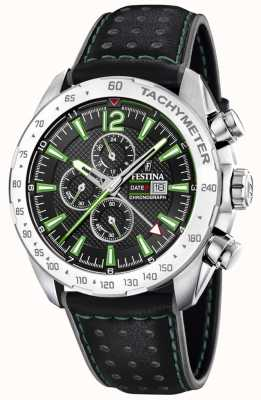 Festina | Mens Chronograph & Dual Time | Black Dial | Black Leather F20440/3