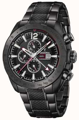 Festina | Mens Black Plated Chronograph | Stainless Steel Bracelet | F20443/1