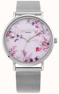 Lipsy | Womens Silver Mesh Bracelet | Pale Pink Floral Dial | LP643