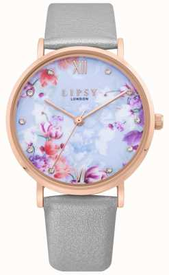 Lipsy | Womens Grey Leather Strap | Pale Blue Floral Dial | LP657
