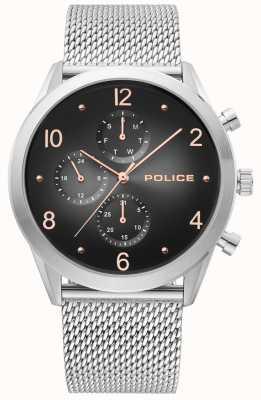 Police | Mens Silver Mesh Strap | Black Multi-Dial | 15922JS/02MM