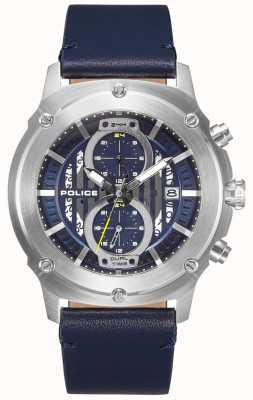 Police | Mens Lulworth | Blue Leather Strap | Blue Multi-Dial | 15917JS/03
