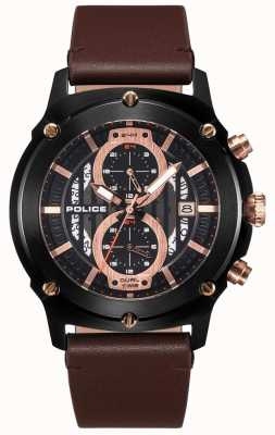 Police | Mens Lulworth | Brown Leather Strap | Black Multi-Dial | 15917JSB/02A