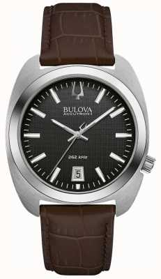 Bulova Men's Black Dial Brown Leather 96B253