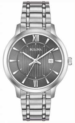 Bulova Mens Stainless Steel Grey Dial Date 96B281