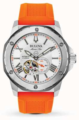 Bulova | Men's | Marine Star | Automatic | Orange Rubber Strap | 98A226