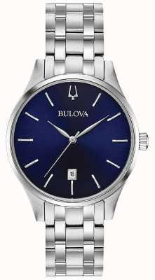 Bulova Women's Stainless Steel Blue Dial Date 96M149