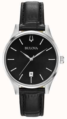 Bulova Women's Black Leather Date Display 96M147