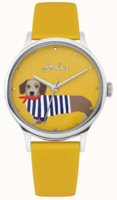 Joules | Ladies Yellow Rubber Strap | Sausage Dog Print Dial | JSL010Y