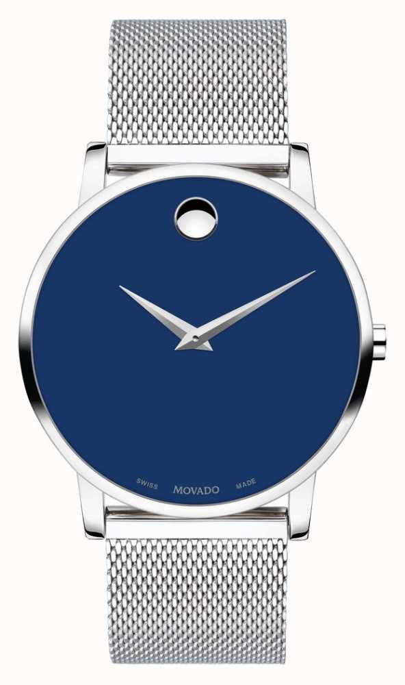 d3eb52662 Movado | Bold Museum | Stainless Silver Mesh Strap | Blue Dial ...