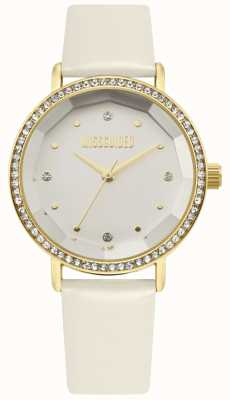 Missguided | Womens White Leather Strap | White Dial | Crystal Bezel | MG021WG