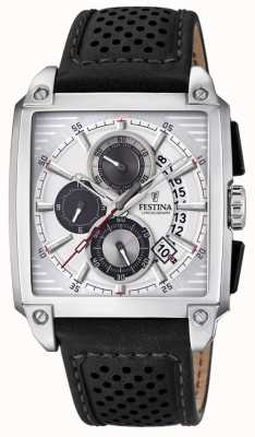 Festina | Mens Black Leather | Silver Chronograph Dial | F20265/1
