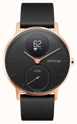 Withings Steel HR 36mm Rose Gold Black Dial Black Silicone Wrist Band HWA03B-36BLACK-RG-S.BLACK-ALL-INTER