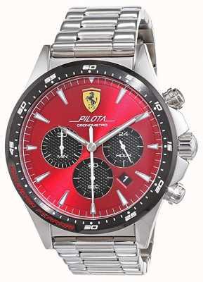 Scuderia Ferrari | Mens Pilota | Stainless Steel Bracelet | Red Dial | 0830619