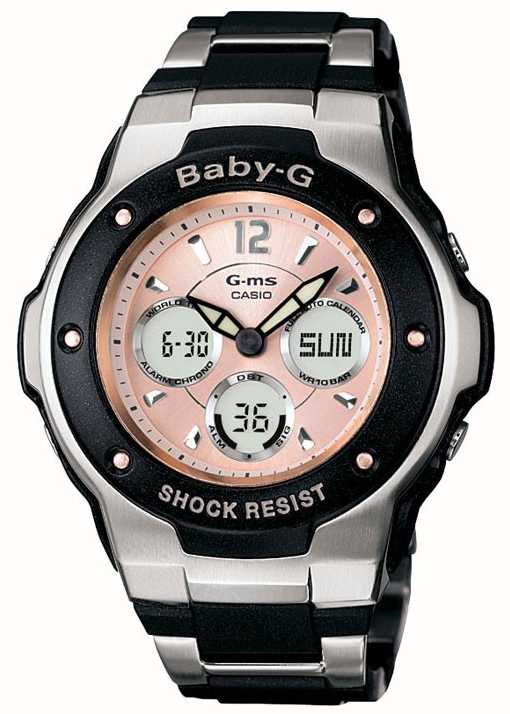 Casio Womens  Baby G Black   Silver Pink Dial Watch MSG-300C-1BER ... 1f7907e694