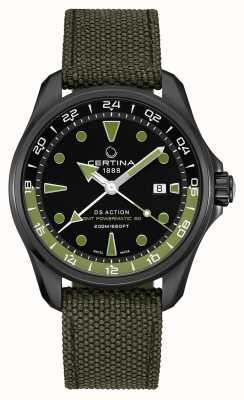 Certina Mens DS Action GMT Powermatic 80 Green Strap Black Dial C0324293805100