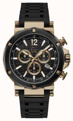 Gc | Gents Silicone Black Chrono | Y53008G2MF