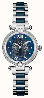 Gc | Womens Blue Ceramic Stainless Steel Bracelet | Y18019L7MF