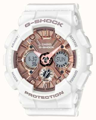 Casio | G-Shock White And Rose Gold | Analogue And Digital | GMA-S120MF-7A2ER