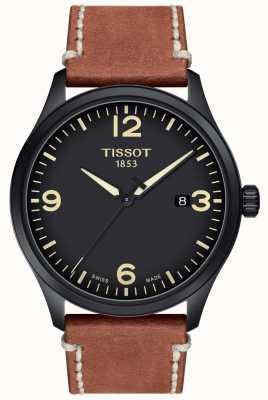 Tissot | Mens XL | Black Dial | Brown Leather Strap | T1164103605700